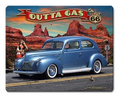 Motivated Outta Gas 1939 Rod Sedan Metal Sign Signs Advertising