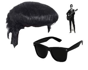 ROY ORBISON perruque et Sombre Lentille Lunettes De Soleil Déguisement Hippy 60 Années 70 Costume Orb