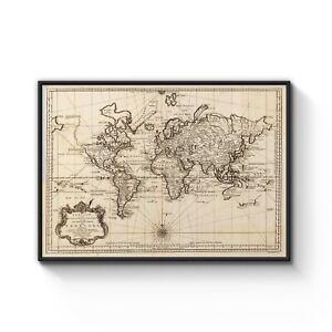 A0 A1 A2 A3 A4 World Map Vintage Black Art Canvas Print