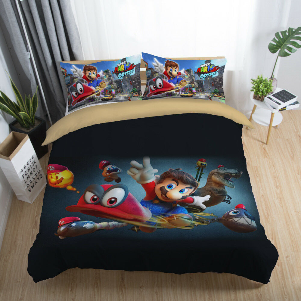 3D Super Mario Odyssey Kids Bedding Set Duvet Cover Pillowcase Comforter Cover
