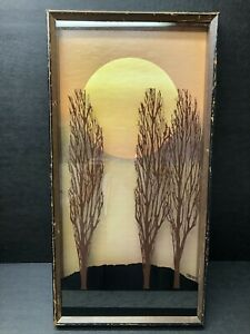 Vintage Virgil Thrasher Shadow Box Art Frame 1970s Painted Glass