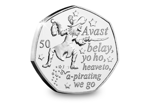 2019-Isle-of-Man-Captain-Hook-Peter-Pan-50p-coin-Uncirculated