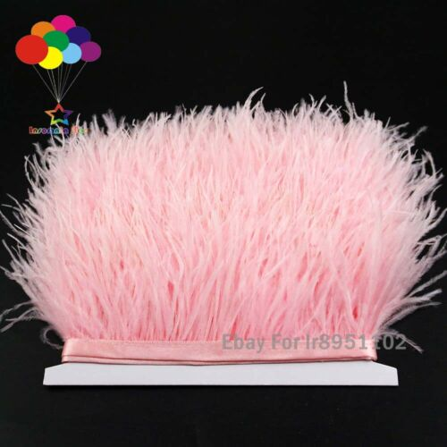 Pink Ostrich Feather Fringe Trim for Dance Costumes Decoration Satin Ribbon