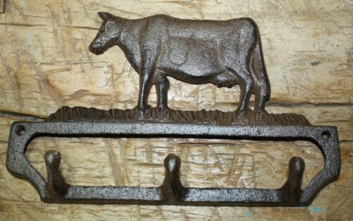 Cast Iron Antique Style COW Towel Coat Hook Farm Hat Hooks Key Rack Man cave