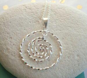 Collar-Colgante-de-plata-esterlina-Espiral-Retorcido-Reino-Unido-Vendedor