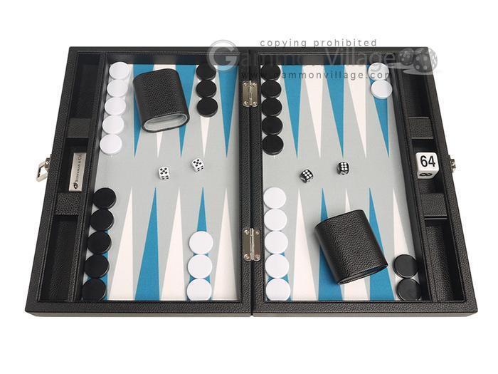 De 13 pulgadas Premium Travel backgammon-Tablero Negro, blancoo astral Azul puntos