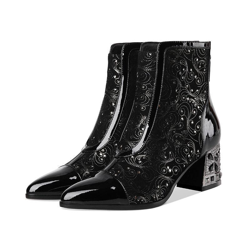 Tendencia de invierno para mujer brillos y lentejuelas Punta rojoonda Bloque Medio Tacones Negro Tobillo bota@c