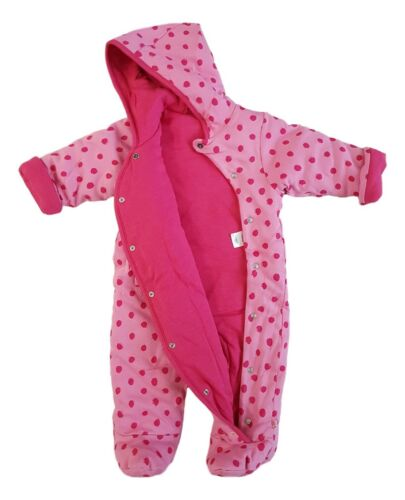 Baby Girls Pramsuit Snowsuit Winter Coat Warm Hooded Fully Lined Pink Spot NEW