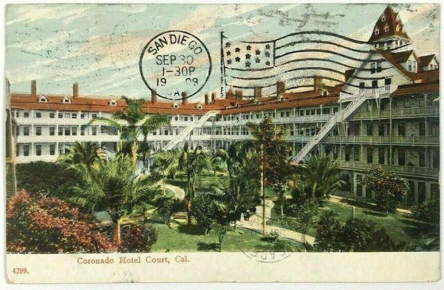 1900's 1909 Coronado Hotel Interior Court View San Diego California CA Postcard