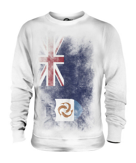 d5301077e ANGUILLA FADED FLAG UNISEX SWEATER TOP ANGUILLAN SHIRT FOOTBALL JERSEY GIFT