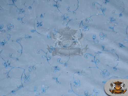 """60/"""" Wide Organza Floral Dahlia Fabric BABY BLUE Sold by the yard"""