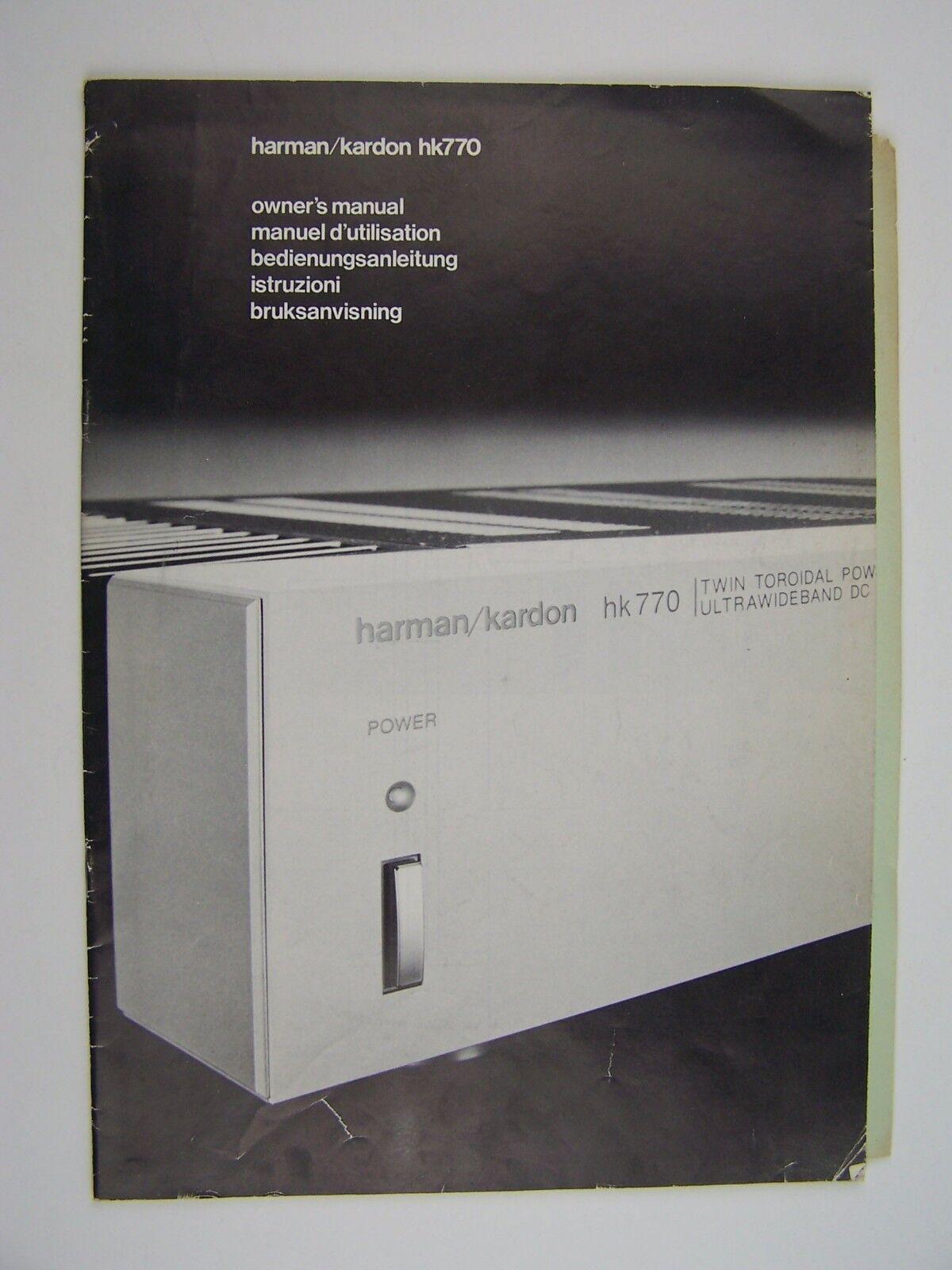Harman Kardon HK770 Original Owner's Manual