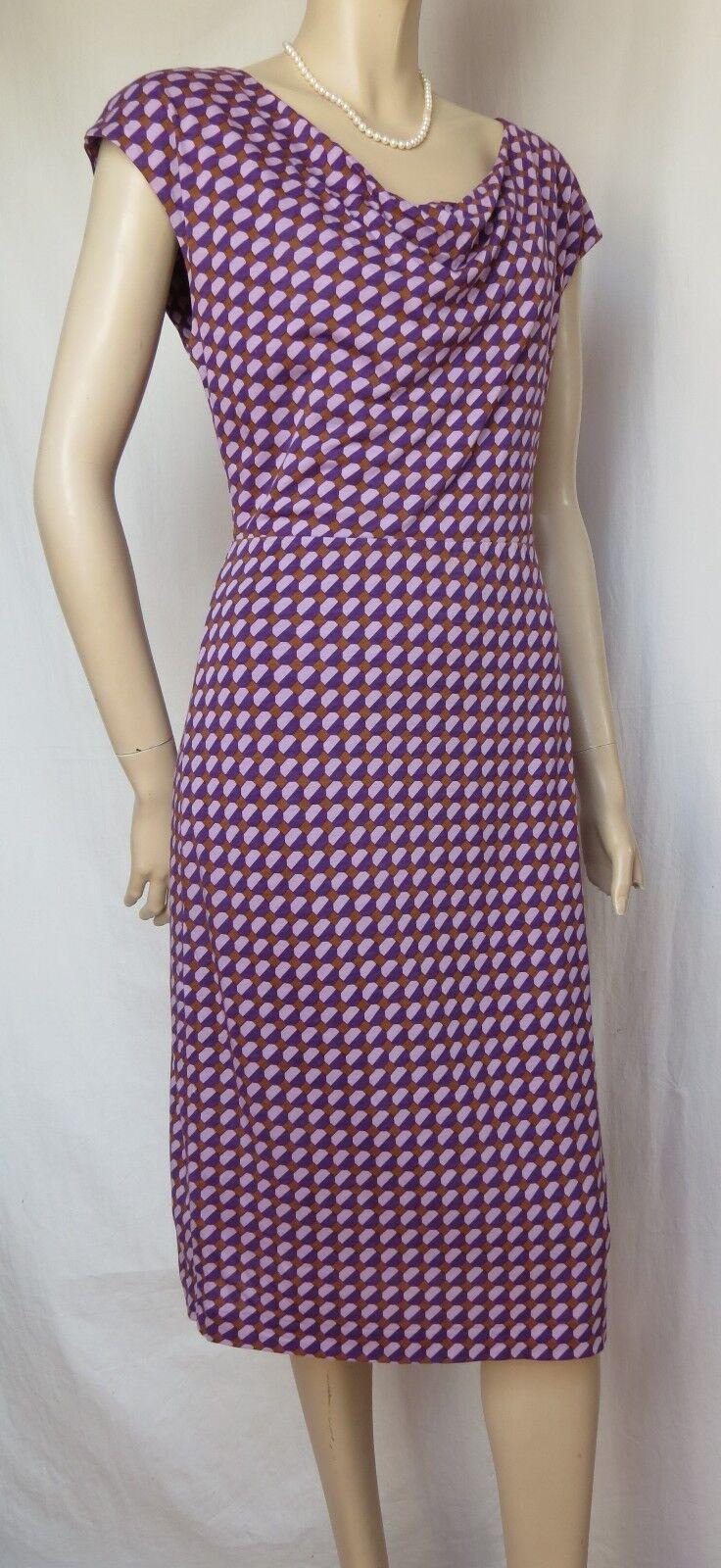 Jerseykleid Boden Boden Boden 36 38 10L Sommerkleid lila braun retro Muster Tencel Baumwolle | München  | Qualifizierte Herstellung  | Deutschland Shop  657849