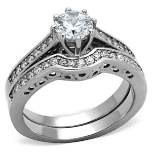 Stainless-Steel-Round-Cut-CZ-Wedding-Ring-Set-Women-Bridal-Size-5-10