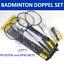 BADMINTON-Set-DOPPEL-4-m-Netz-mit-Pfosten-4-Schlaeger-2-Federball-komplett Indexbild 1
