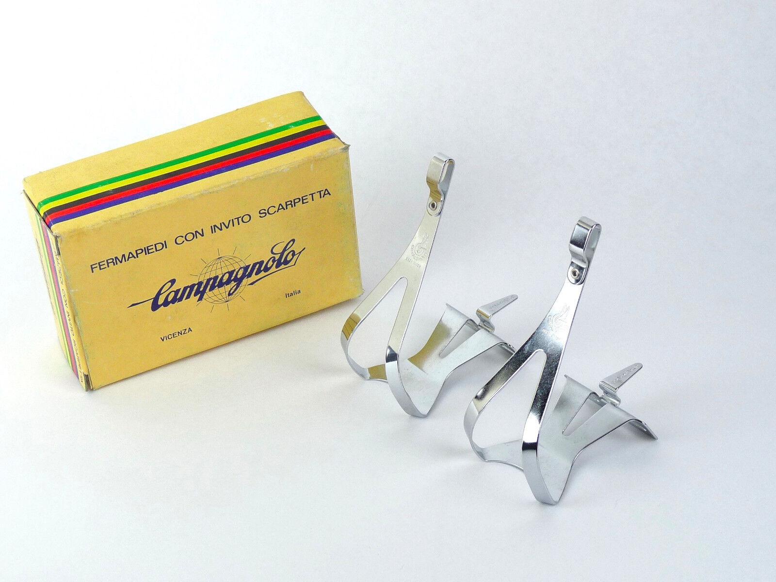 Campagnolo Nuovo Record Toe Clips LARGE Steel Vintage Road Cykel NOS