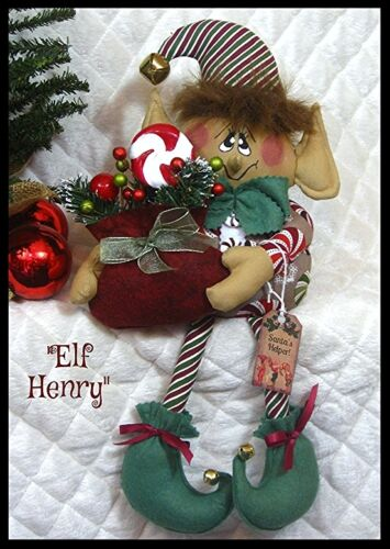 ~Primitive PATTERN Raggedy 15 Elf Henry w/sack of sweets!~PATTERN #314