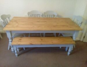 6ft Shabby Chic Table 4 Chairs And Bench Ebay