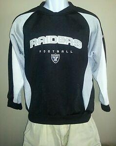 Oakland-Raiders-Sweatshirt-Reebok-NFL-Team-Apparel-Authentic-Silver-Black-White