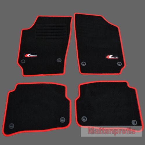 Mattenprofis Velours Logo rot Fußmatten für VW Polo 9N ab Bj.2001-2009 oval
