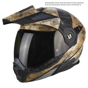 Scorpion-ADX-1-Battleflage-Casque-de-Moto-Rabattable-Enduro-Mat-Sand-Argent