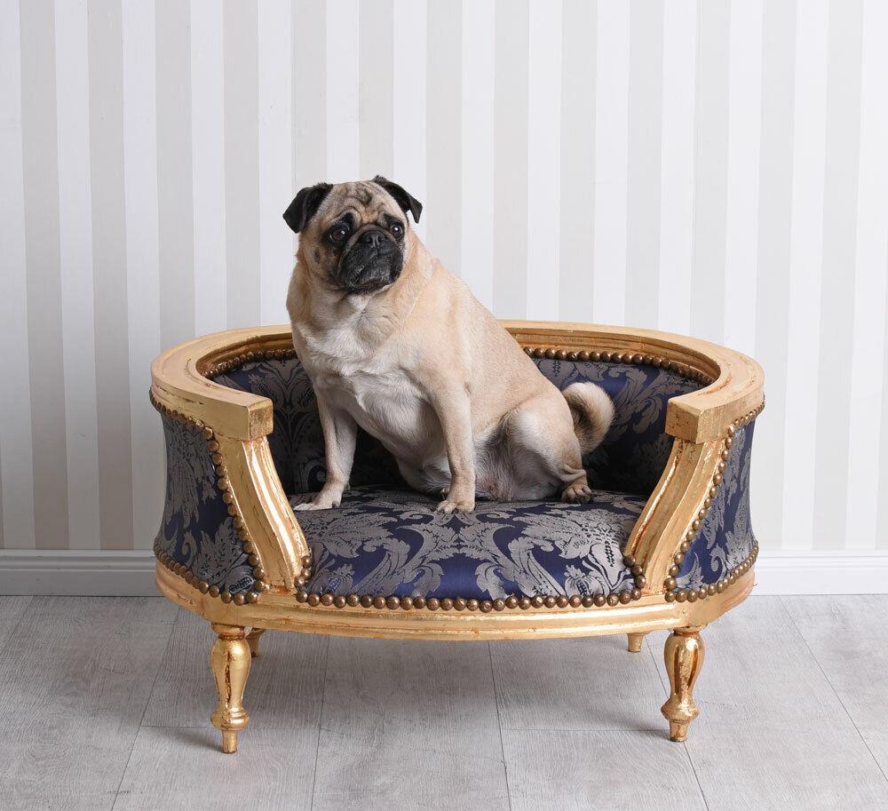 Cani Divano letto per cani Barocco oro Blu Letto per Gatti Animali Divano dormire Cuscino per cani