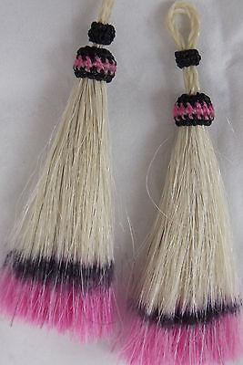 One-of-kind mulit-color Horsehair Tassels colored Beauties Hot pink /black Set 4