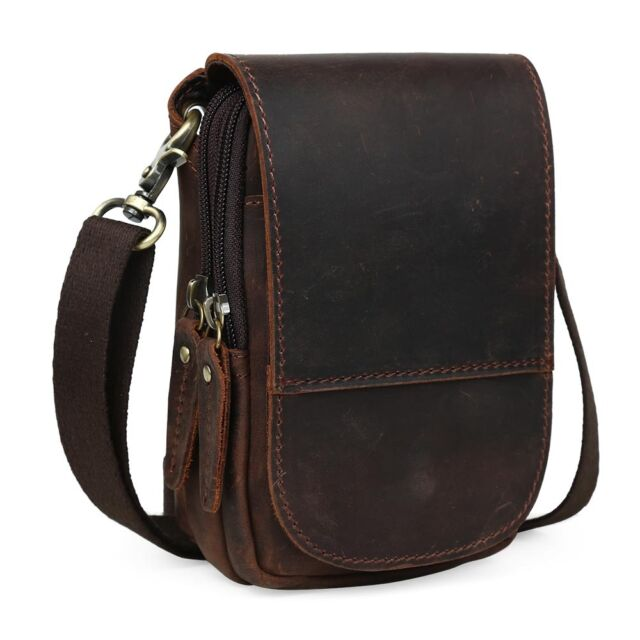 Vintage Genuine Leather Mens Small Messenger Best Waist Pack Side Bag Brown c96b766dd3a10
