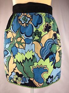 Vintage-Half-Apron-Green-Yellow-Tan-Black-floral-design