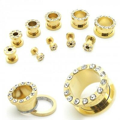 Edelstahl Flesh Tunnel Plug Gold Strass Piercing 2 3 4 5 6 8 10 12 14