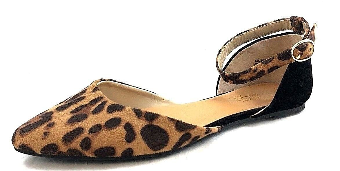 WOMEN'S ROUGE HELIUM ANKLE STRAP PRINT CLOSED TOE FLATS BLACK/ANIMAL PRINT STRAP SIZE US 7.5 18acaa