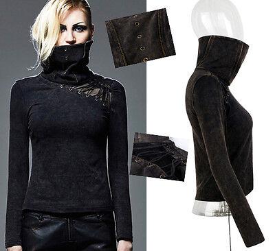 Top Haut Gothique Punk Lolita Steampunk Masque Résille Laçage Bronze Punkrave Aspetto Elegante