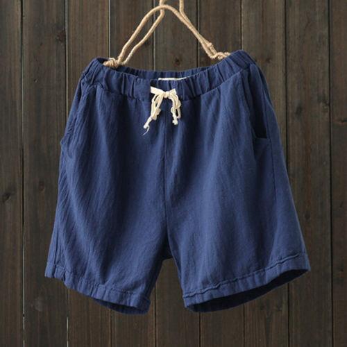 Summer Men Shorts Casual Drawstring Cotton Linen Loose Trousers Beach Hot Pants
