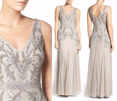 NWT Adrianna Papell Beaded Godet Trumpet Gown Silver//Grey 6 8 12 12P 14 #G51