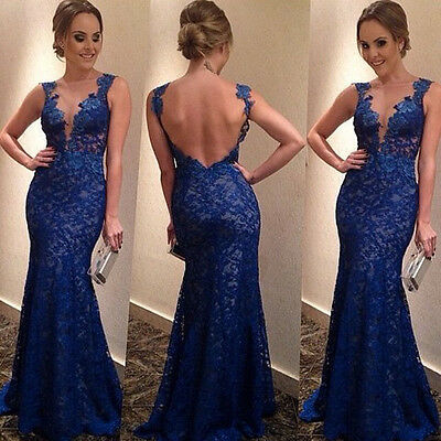 2015 Formal Long Lace Sexy Backless Women Bodycon Prom Evening Party Maxi Dress