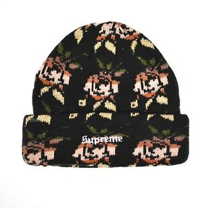 bfb89fb2866 NWT Supreme NY Floral Rose Knit Logo Men s Beanie Hat Black FW18 DS ...
