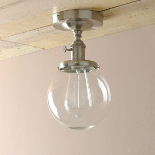 Retro Industrial Brushed Pendant Light Round Glass Shade Loft Semi-Flush Mount