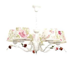 Details zu Kronleuchter Weiß Creme Stoff Schirm Ø70cm Floral Landhaus  Schlafzimmer Lampe