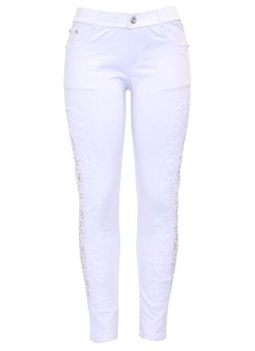 New Womens Black White Side Lace Crochet Skinny Slim Fit Jegging Jeans Legging
