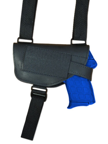 NEW Barsony Black Leather Shoulder Holster 380 Ultra Compact 9mm 40 45 w// LASER