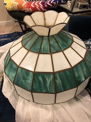 Vintage Stained Glass Tiffany Swag Hanging Poker Table ...
