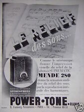 PUBLICITÉ 1932 POWER TONE RADIO LE RELIEF DES SONS - ADVERTISING