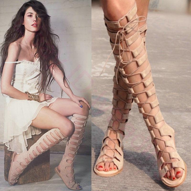 Zapatos De De De Fiesta Mujer Gladiador Romano Taco Plano Sandalias botas Hasta La Rodilla Con Cordones De  wholesape barato