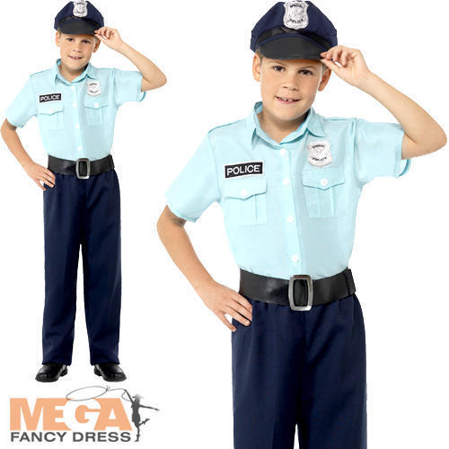 Police Officer Boys Fancy Dress Cop Fuzz Policeman Uniform Kids Childs Costume