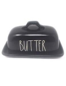 Rae-Dunn-Black-Butter-Dish-with-White-Letters-Artisan-Collection-Magenta