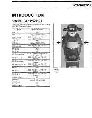 2007 Ski Doo GSX GTX MX Z Summit REV Series Snowmobile Service Manual EBay