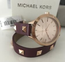 f1d2db2280ed item 4 NEW Michael Kors Ladies Slim Runway Merlot Leather Double-Wrap Stud  Watch MK2699 -NEW Michael Kors Ladies Slim Runway Merlot Leather Double-Wrap  Stud ...