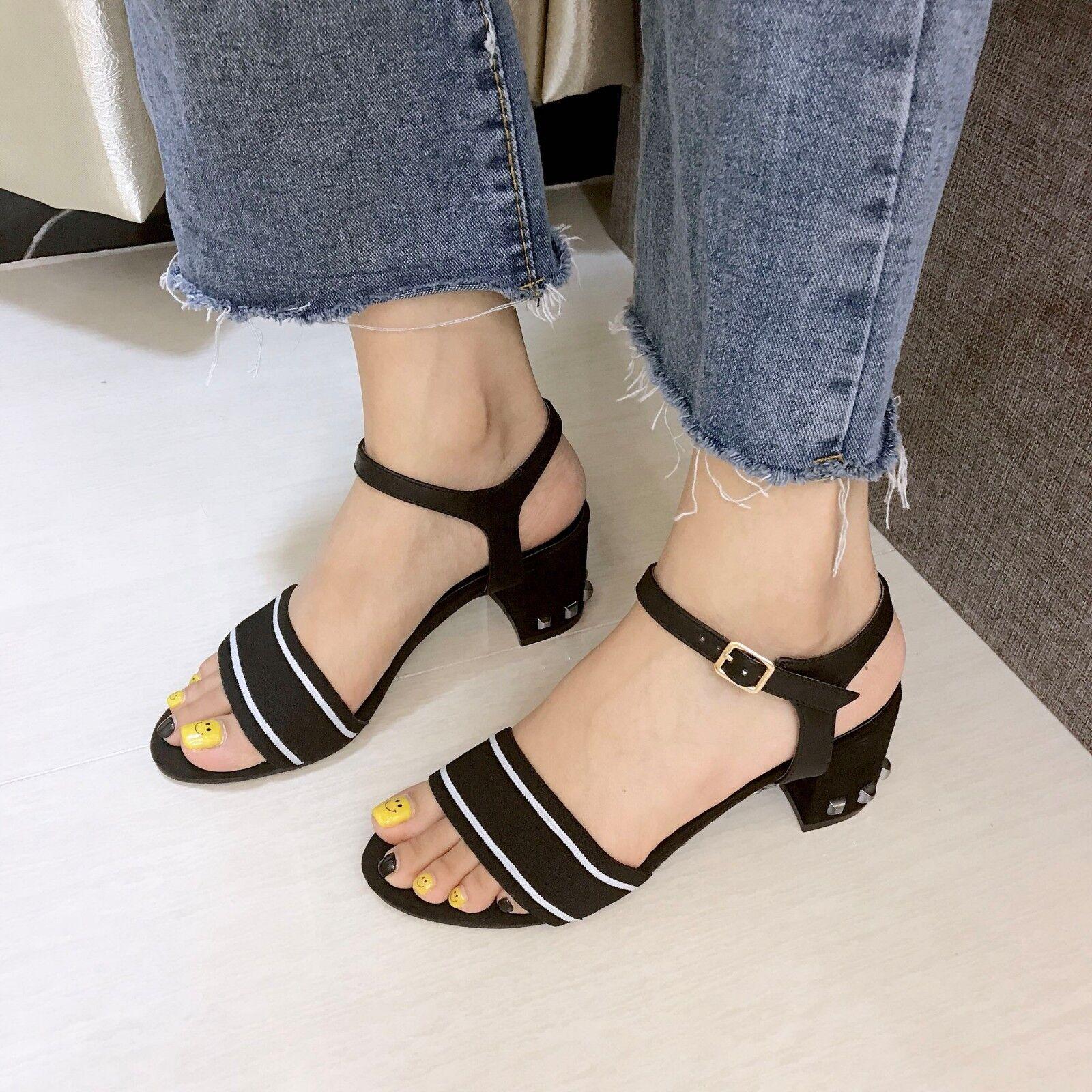 Sandalen 7 cm elegant schwarz-weiss simil absatz quadrat Sandale simil schwarz-weiss leder 1094 48ae55