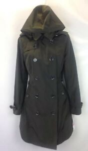 Micheal-Kors-Womens-Olive-Green-Button-Down-Coat-With-Removable-Hood-XS