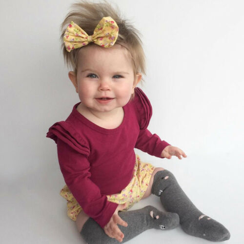 Newborn Infant Baby Girls Solid Ruffle Long Sleeve Romper Bodyuit Warm Clothes